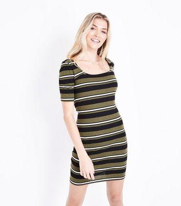 Khaki Stripe Square Neck Ribbed Bodycon Dress New Look