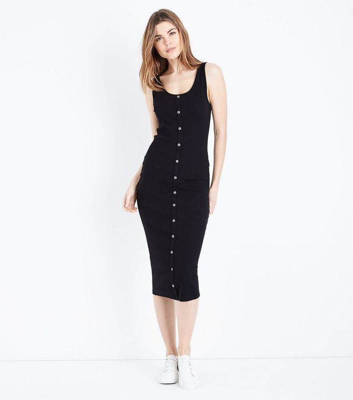5ab60c7a5c Black Ribbed Button Front Midi Dress