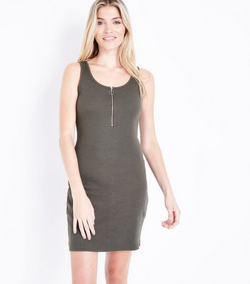 Khaki Zip Front Ribbed Bodycon Dress