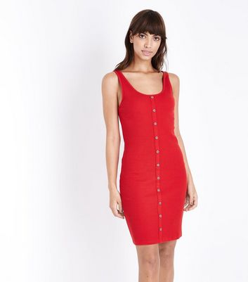 Red Ribbed Button Front Bodycon Dress