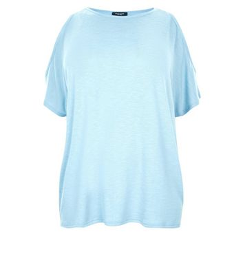 Curves Pale Blue Cold Shoulder Tunic Top New Look