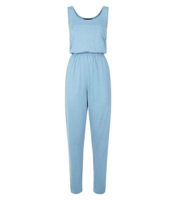 Pale Blue Jersey Sleeveless Jumpsuit New Look