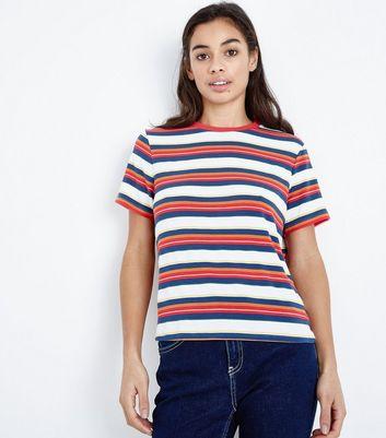 Petite Multi Coloured Stripe Ringer Tee New Look