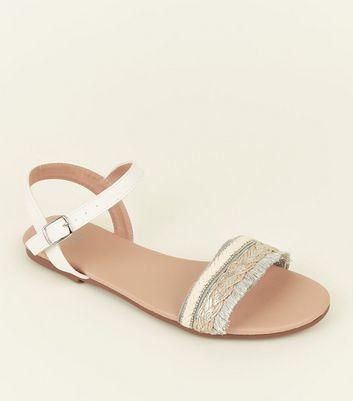 Girls White Woven Fringe Flat Sandals