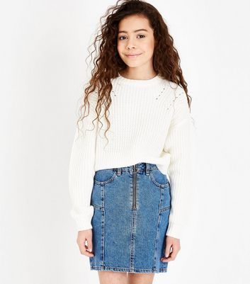 Girls Blue Zip Front Denim Skirt
