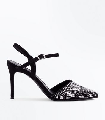 Black Suedette Diamanté Toe Pointed Heels
