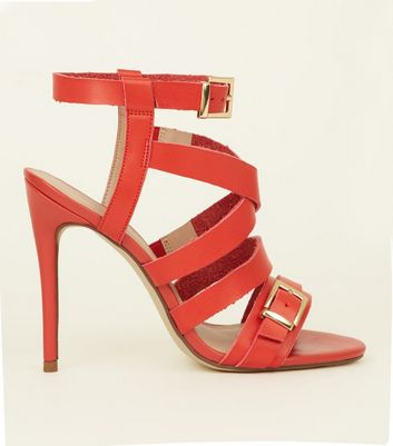 Red Strappy Stiletto Heels