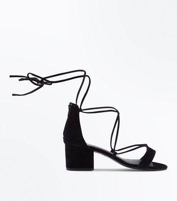 Black Suede Ankle Tie Heeled Sandals