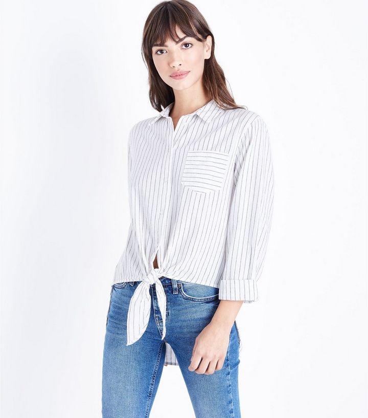 190c58151f1978 Monochrome Stripe Tie Front Stripe Shirt | New Look