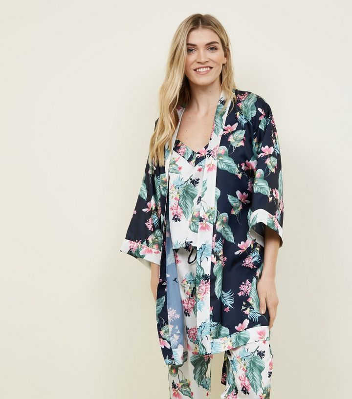 a19eed3fa4 Soraya Blue Floral Leaf Print Satin Robe