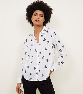 White Butterfly Print Shirt