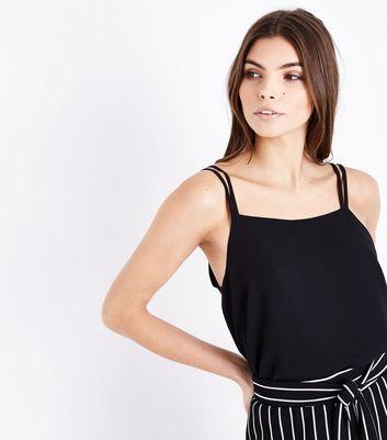 Black Double Strap Square Neck Cami New Look
