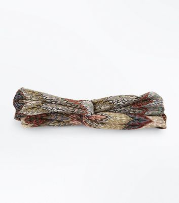 Khaki Zig Zag Pattern Twist Headband