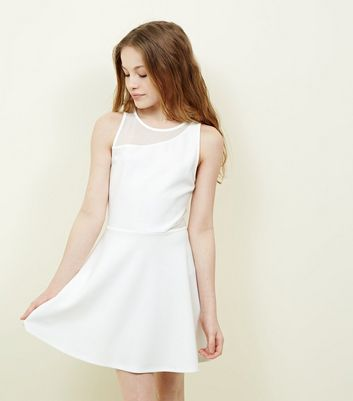 Girls White Mesh Scuba Skater Dress
