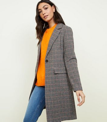 Brown Houndstooth Check Coat
