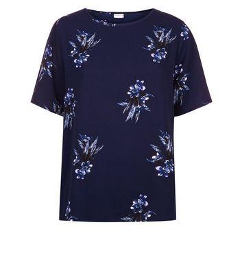 JDY Blue Floral Print Short Sleeve Top New Look