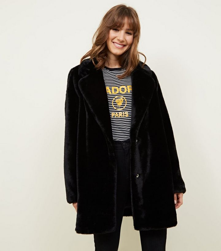 a6324d6374 Black Faux Fur Longline Coat | New Look