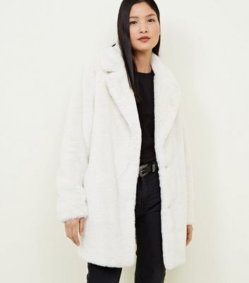 White Faux Fur Longline Coat
