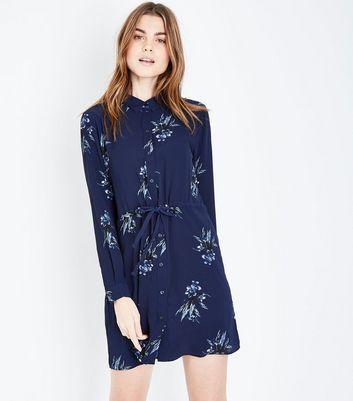 JDY Blue Floral Print Long Sleeve Tie Waist Dress New Look