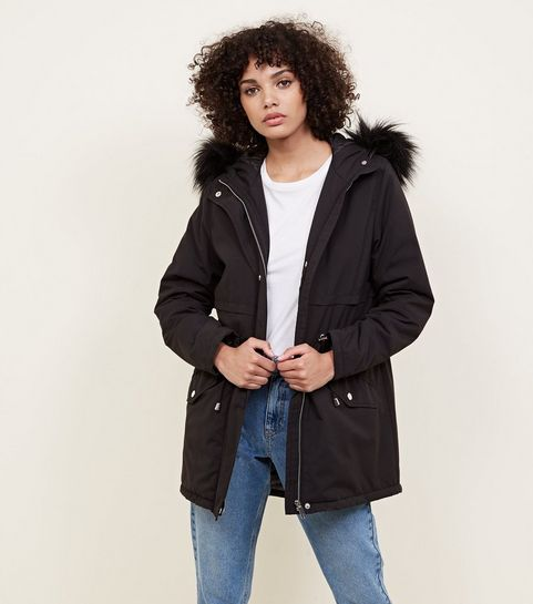 1dcc75e5457b0 Dinah Fur Trim Hooded Parka Jacket in Black – Tokyo Laundry …