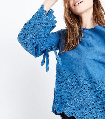 Blue Vanilla Blue Broderie Bell Sleeve Top New Look