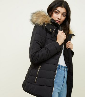 ac89dd45cbfe Black Faux Fur Trim Hooded Puffer Jacket | New Look