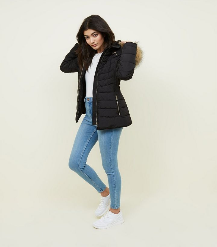 99197e45fc4 Black Faux Fur Trim Hooded Puffer Jacket Add to Saved Items Remove from  Saved Items