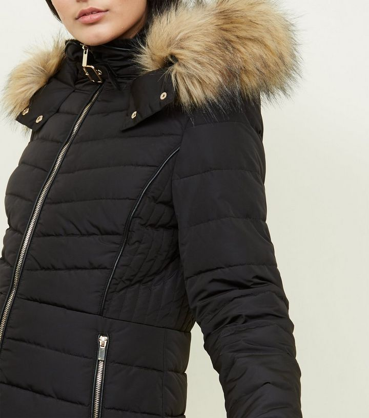 2eb0a987e Black Faux Fur Trim Hooded Puffer Jacket Add to Saved Items Remove from  Saved Items