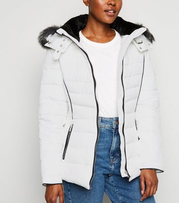 White Faux Fur Trim Hooded Puffer Jacket