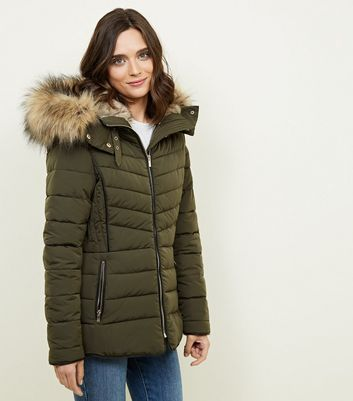 Olive Faux Fur Trim Puffer Jacket