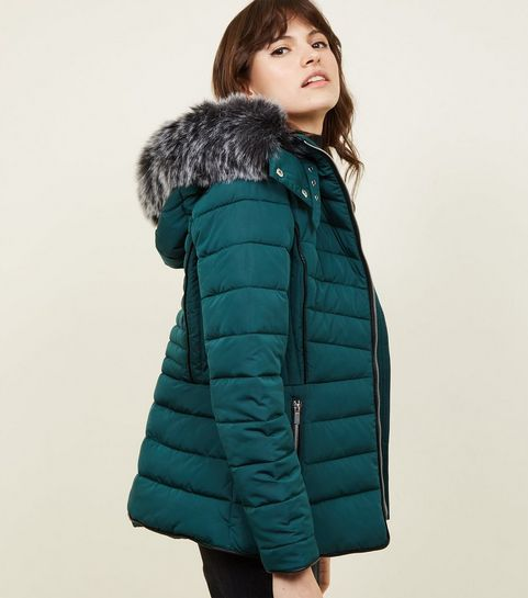 f18e37979c336 ... Dark Green Faux Fur Trim Hooded Puffer Jacket ...