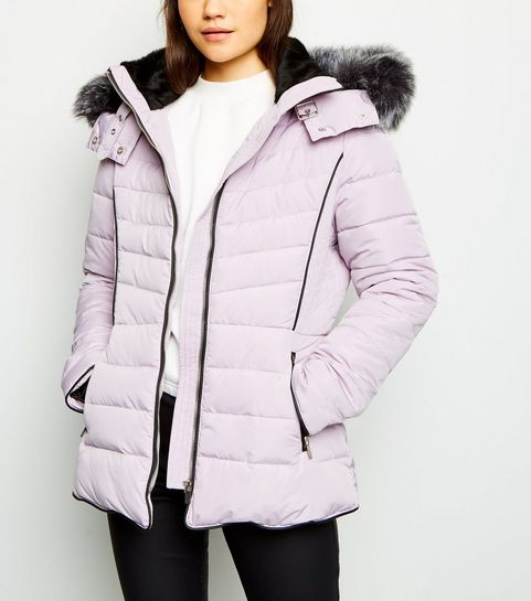 d09302cef742e ... Lilac Faux Fur Trim Hooded Puffer Jacket ...