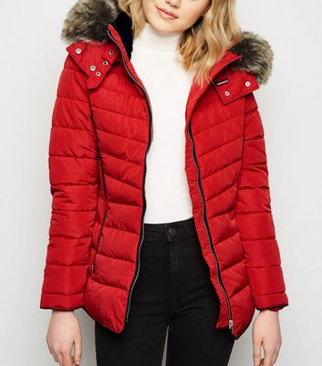 Red Faux Fur Trim Hooded Puffer Jacket by New Look