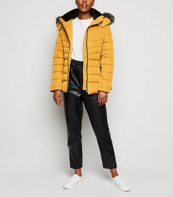 Mustard Faux Fur Trim Hooded Puffer Jacket