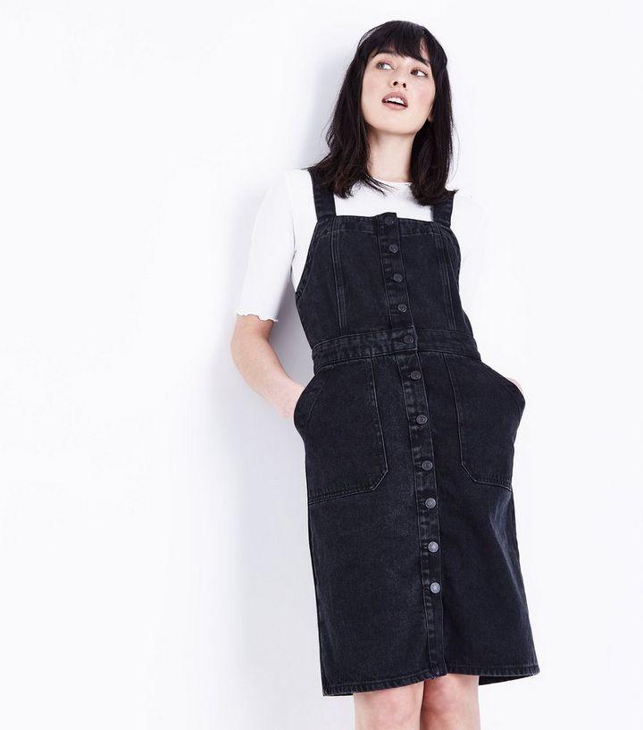 52bd9abc2e2 Black Denim Button Front Pinafore Dress