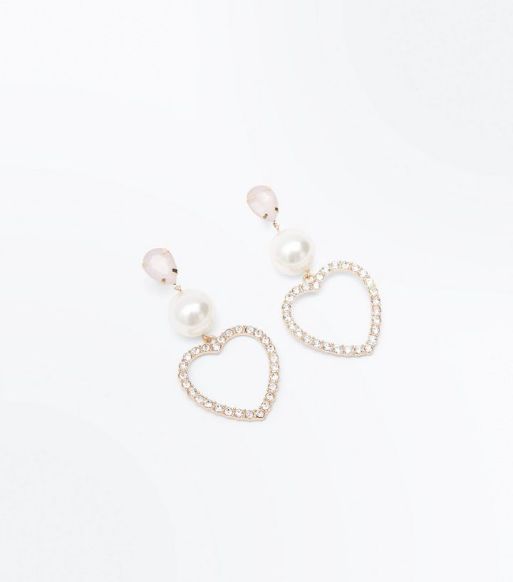 094866a5a Pink Pearl and Diamanté Heart Drop Earrings | New Look