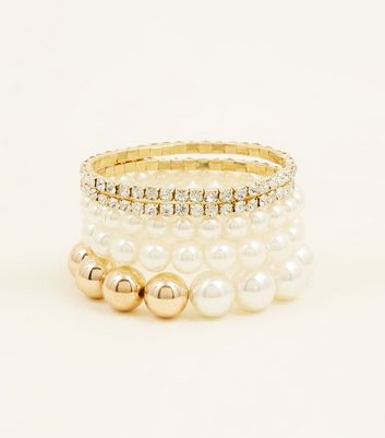 5 Pack Cream Faux Pearl and Diamant