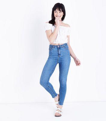 White Broderie Bardot Crop Top New Look