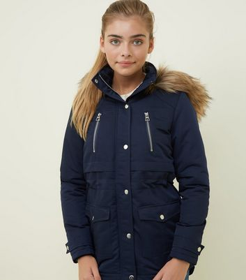 Girls Navy Faux Fur Hooded Parka