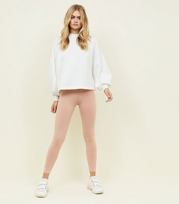 Nude Cotton Mix High Waist Leggings