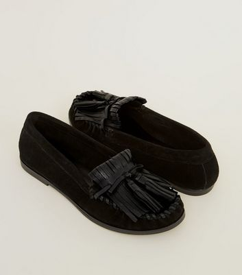 Black Suede Whipstitch Fringe Trim Loafers New Look