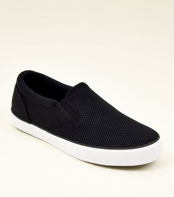 Black Knitted Slip On Trainers