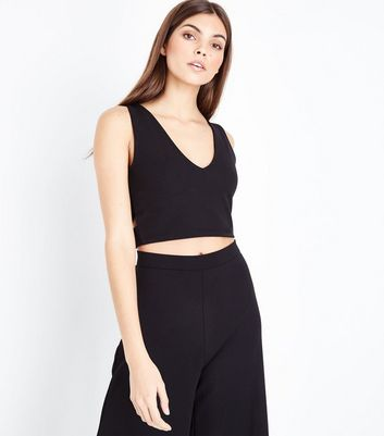 Black Cut Out Crop Top New Look