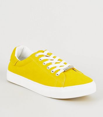 Yellow Faux Nubuck Lace Up Trainers