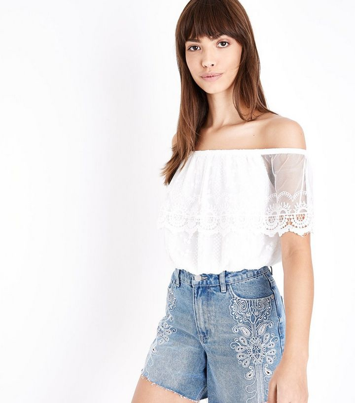 777a312855931b Cream Embroidered Mesh Frill Bardot Top   New Look