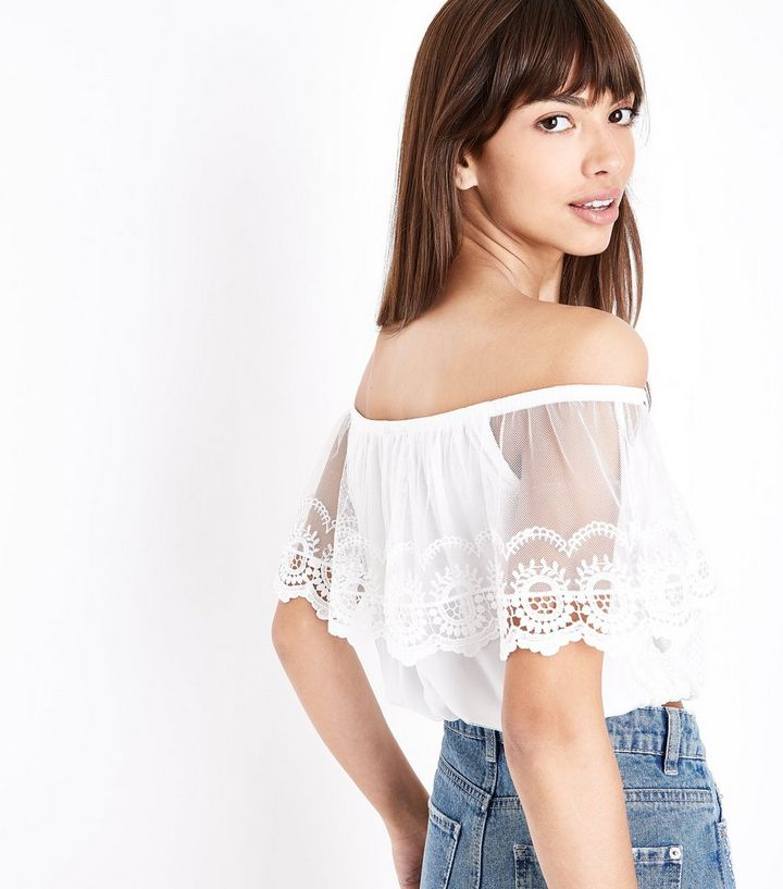 418751a57a8 ... Cream Embroidered Mesh Frill Bardot Top. ×. ×. ×. Shop the look