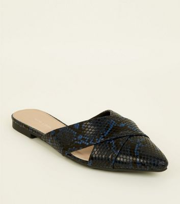 Blue Faux Snake Skin Cut Out Cross Strap Mules by New Look