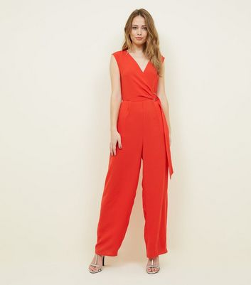 blue vanilla red d-ring wrap front jumpsuit new look
