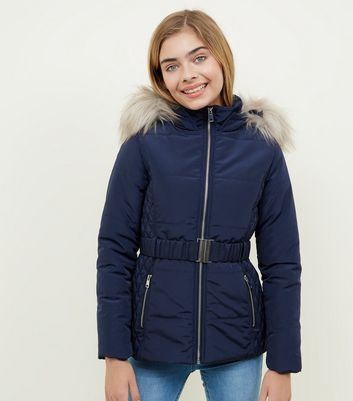 Girls Navy Faux Fur Trim Hood Belted Puffer Jacket