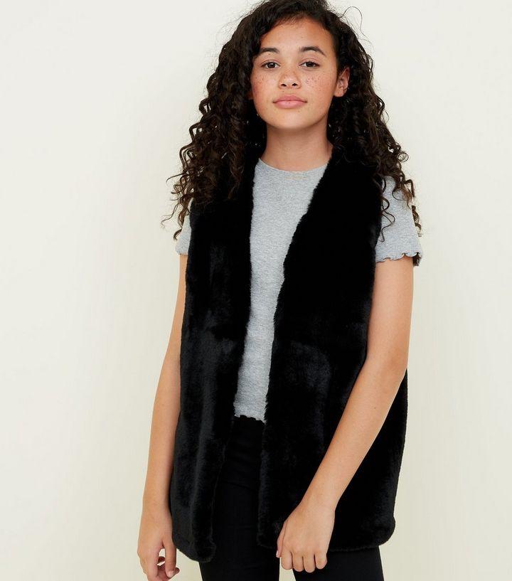 eeedbae8785f Girls Black Faux Fur Gilet
